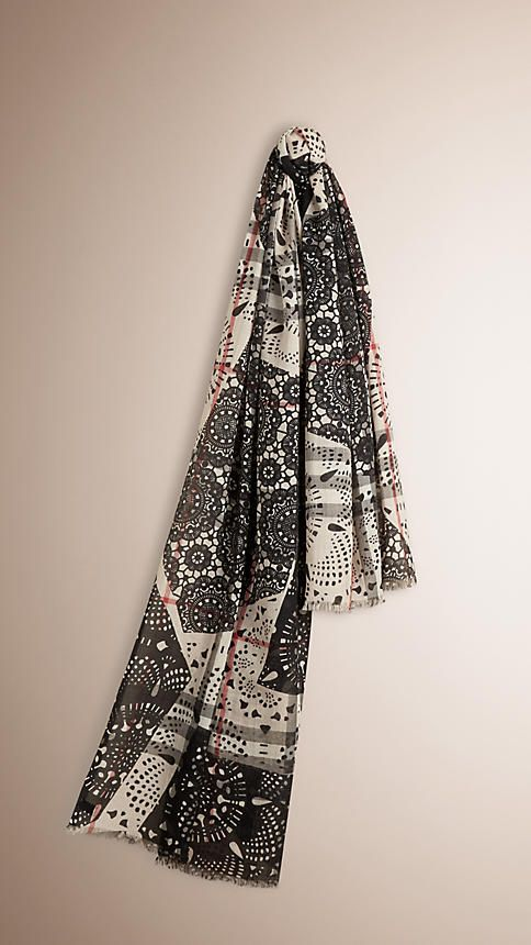 Stone/black Patchwork Lace Print Check Wool Silk Scarf Stone/black - Image 1