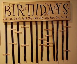 Birthday Board- Use mini clothes pins with persons name & birth date.