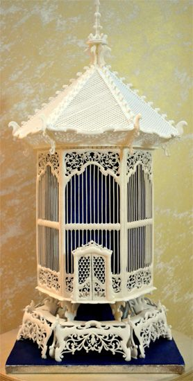 Jaula francesa de pájaros, plano para madera calada con sierra de marquetería