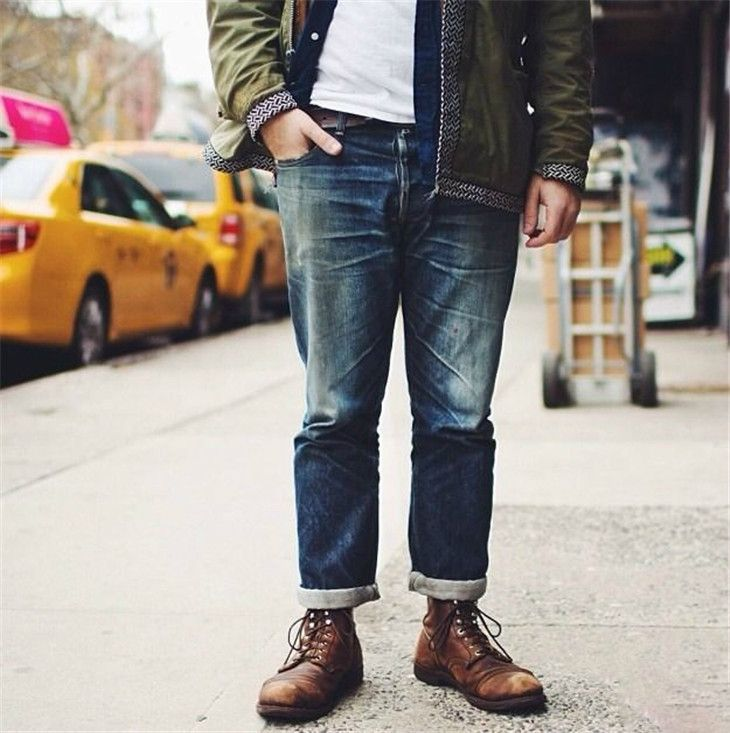 jeans and red wing iron ranger 8111