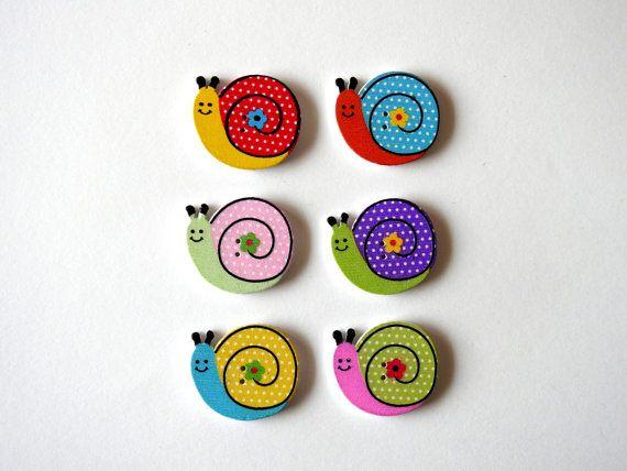 Wooden Buttons Snail - 6 pcs