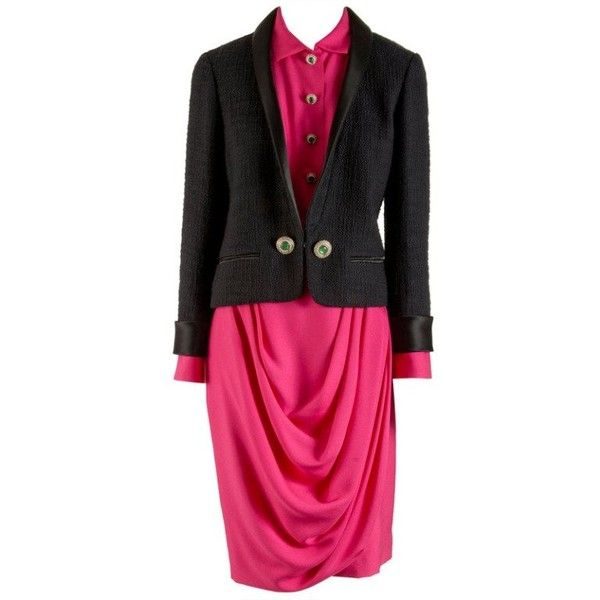 Preowned Nwt Chanel Black & Pink Three Piece Skirt Suit Size 38/40 (226.500 RUB) ❤ liked on Polyvore featuring skirts, pink, skirt suits, beaded skirt, zipper skirt, button front skirt, pink peplum skirt and peplum skirt