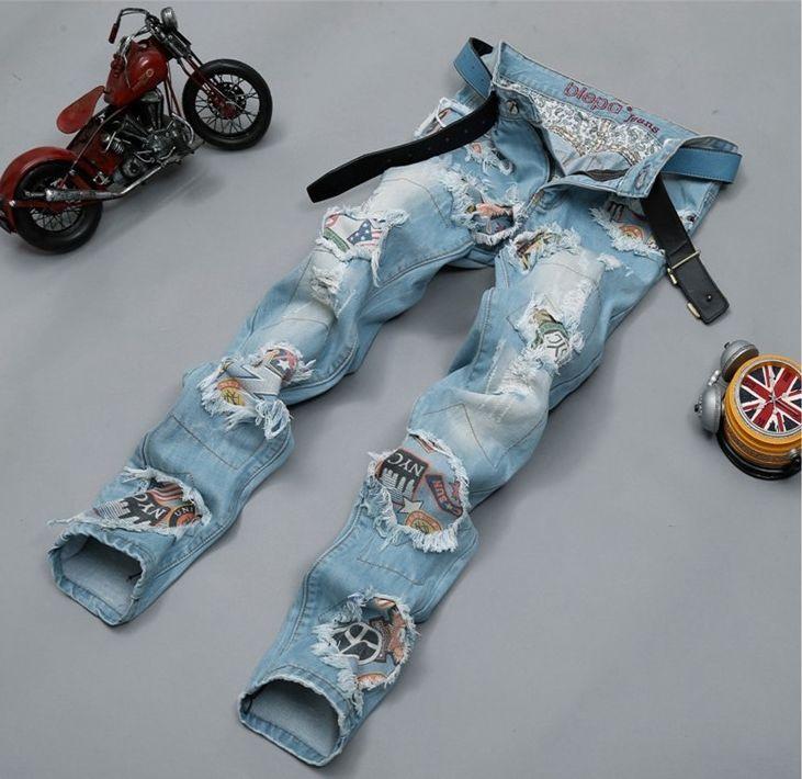 Herren Klassischer Blaue Denim Hosen Männer Retro Loch-Patch Gerade Jeans 341 | Kleidung & Accessoires, Herrenmode, Jeans | eBay!