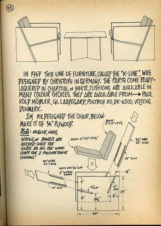 Christoph, 'K-Line', 1967. The armchair constructed of simple planar components that slot together (from 'Nomadic Furniture'):