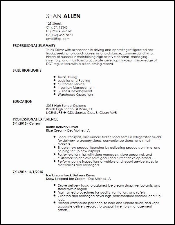23 Delivery Driver Job Description Resume In 2020 Driver Job