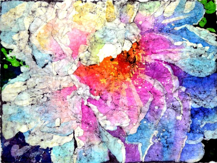 This is a watercolor batik painting.