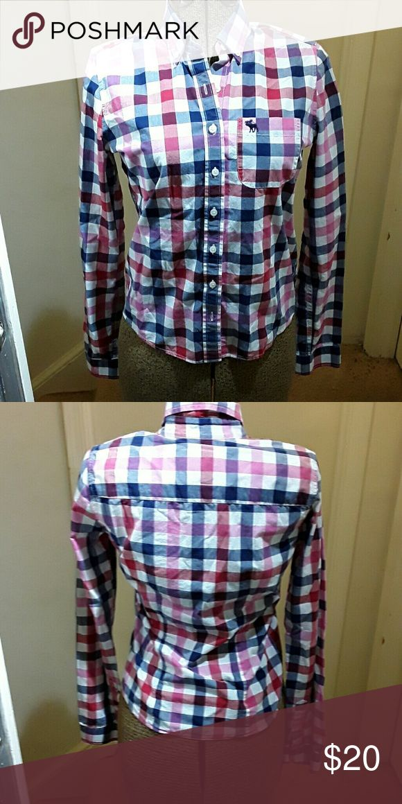 Abercrombie & Fitch pink and red plaid shirt sz S Abercrombie & Fitch pink and red plaid button down shirt.  100% cotton  size S Abercrombie & Fitch Tops Button Down Shirts