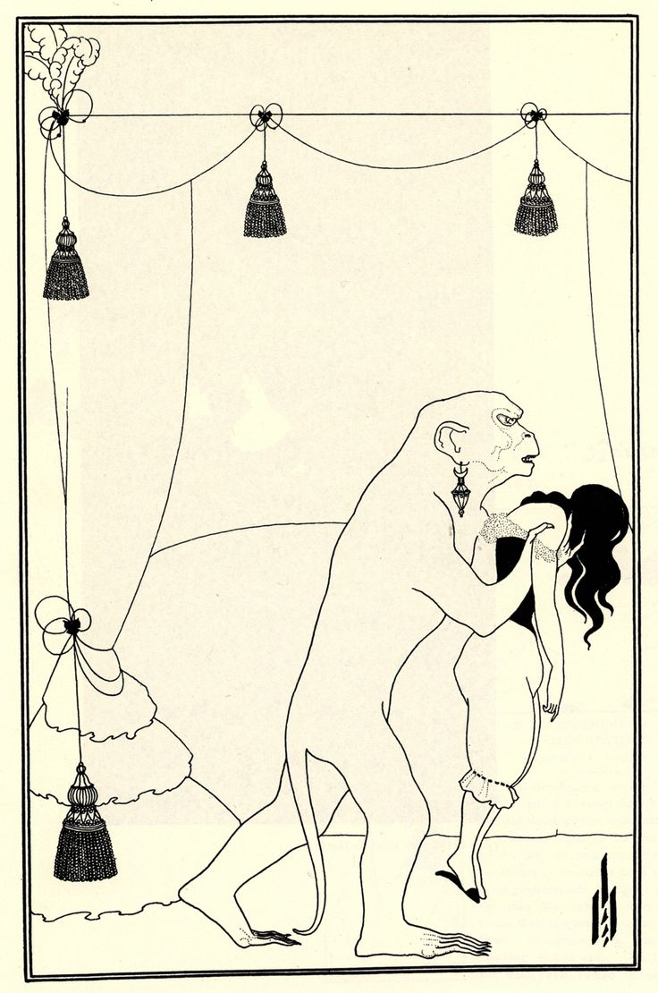 Aubrey Beardsley - The Murders in the Rue Morgue. Illustration for Edgar Allan Poe's story. 1895