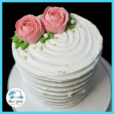 buttercream rose rustic swipe cake nj