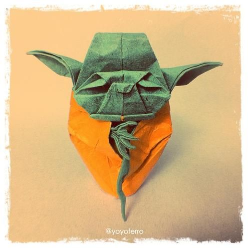 "7) Be inspired by an Origami Yoda As Man Made DIY put it, ""this fun origami project takes a solid eighty-two folds, and makes one seriously sweet little Jedi master that would look excellent perched on top of your desk, a shelf, or anywhere that needs a pop of handmade colour."""