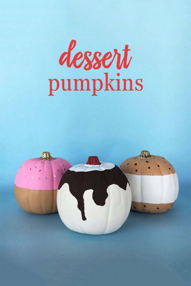 Swap out the usual scary pumpkins for something a little sweet this Halloween. With acrylic paint and painter's tape, you can transform any pumpkin into a circular dessert. These DIY Dessert Pumpkins will stand out from the rest, plus they look good enough to eat! Click for the no-carve pumpkin tutorials.