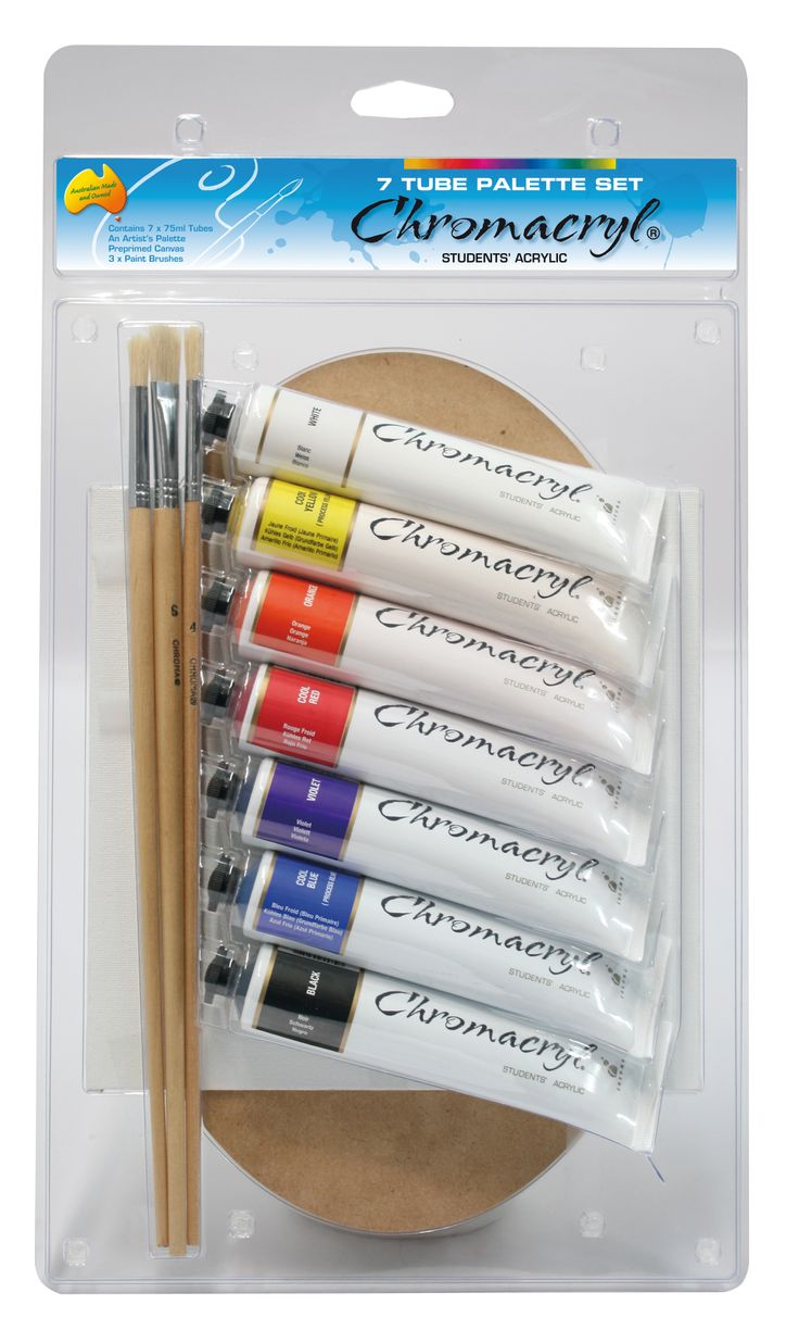 Chromacryl 7 Tube Set With Free Palette, Canvas and Brushes