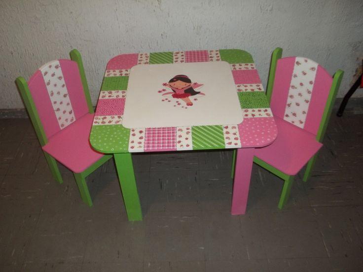 Mesa y sillas para ni as trabajos realizados pinterest for Mesas y sillas para ninas