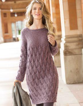 Платье с узором из «листьев» - схема вязания спицами. Вяжем Платья на Verena.ru