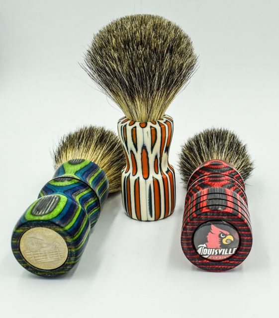 Handcrafted badger hair shaving brushes. Each shaving brush is an one-of-the-kind gift.