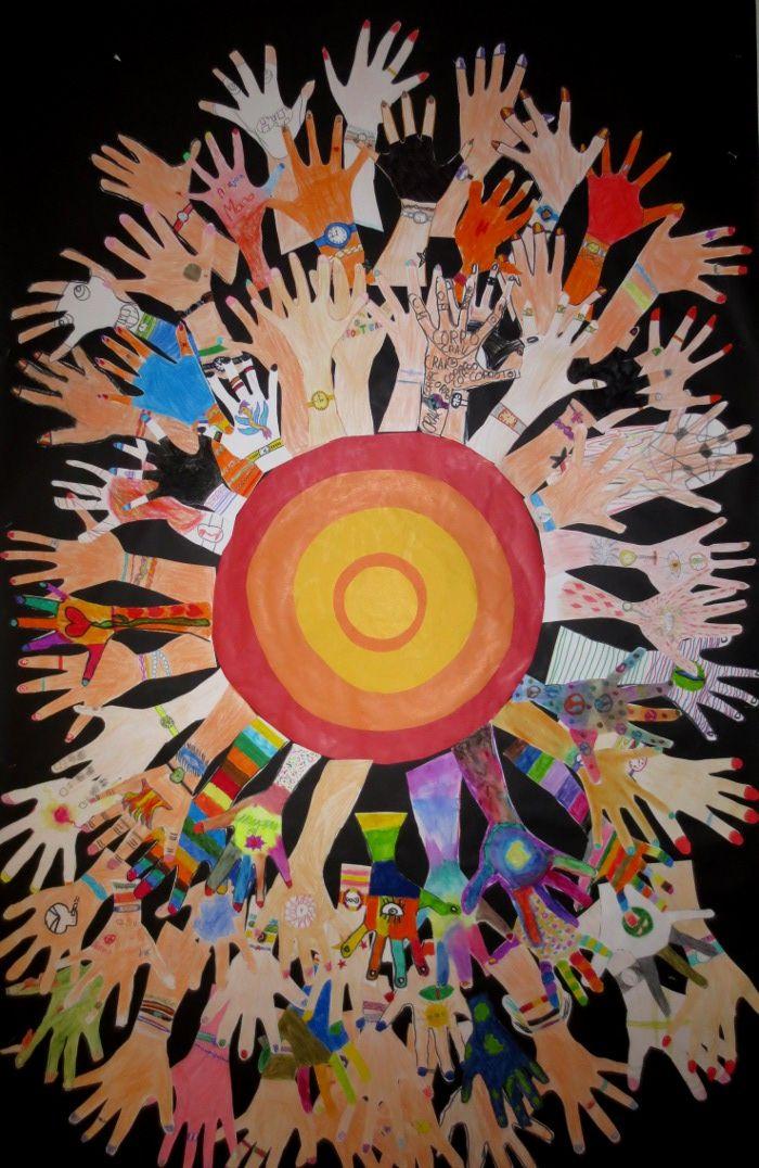 HANDS UP Mural realizado por alumnos de 4º de EP. Colegio Alameda de Osuna.
