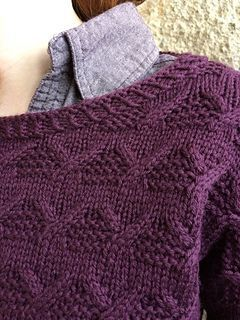 Easy cable and stockinette stitch A-line pullover worked mostly in the round.