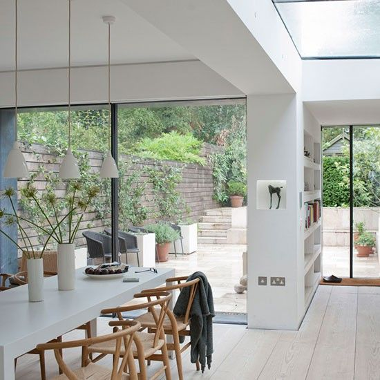 We love this open-plan kitchen extension featuring the CH24 Wishbone Chairs - classy and stylish all at once :-) http://www.nest.co.uk/search/carl-hansen-ch24-wishbone-chair Image via Housetohome.co.uk.