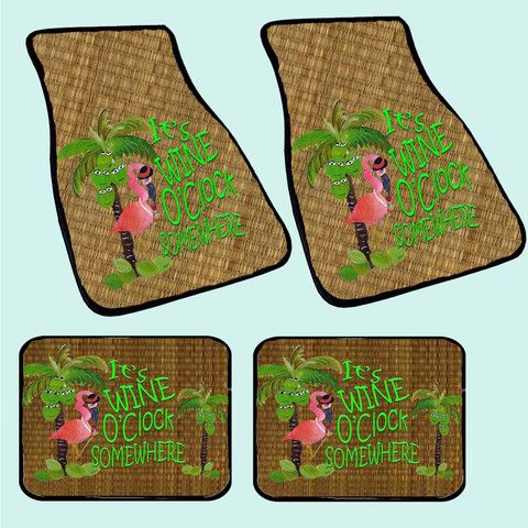 Flamingo island tropical bird art coastal beach floor mats from my art, 20 oz loop with black bordered binding and non-skid backing Front size 17 x 27 - Rear size 17 x 13