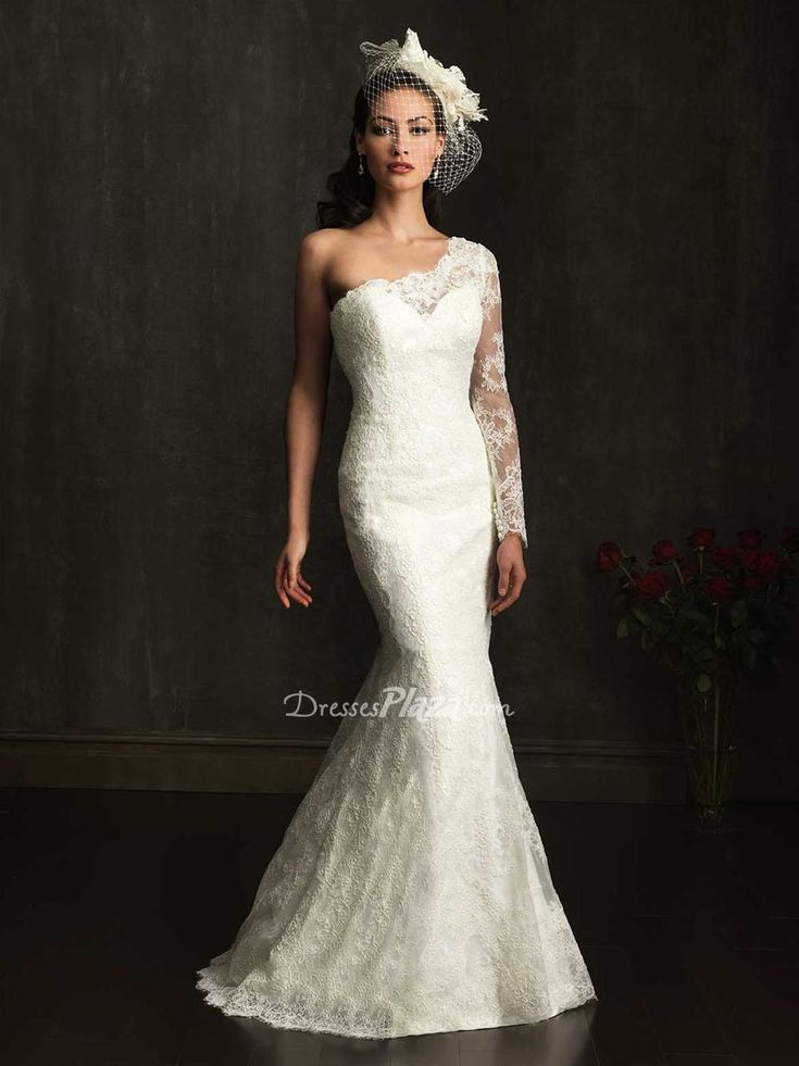 Lovely one shoulder sheer long sleeve slim fitted lace applique wedding dress