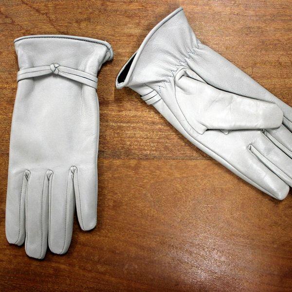 Gants en cuir blanc pour femme Rose Garden   White leather gloves