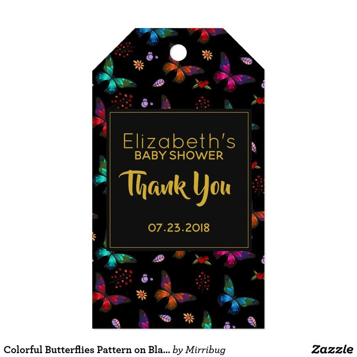Colorful Butterflies Pattern on Black Thank You Gift Tags
