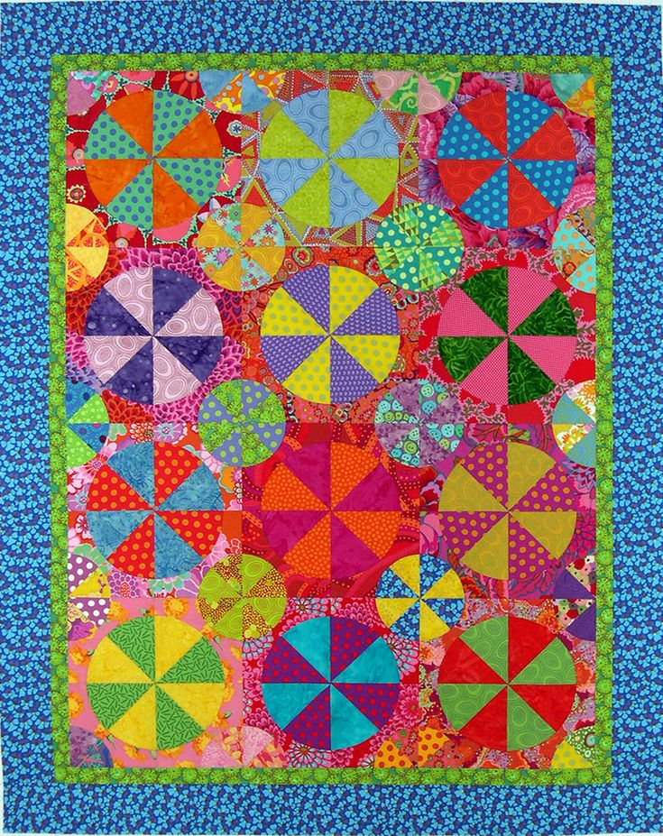 """Hand pieced from an Inklingo pattern called Pies and Tarts. I enlarged it 143%. I am calling it """"Summer Days"""" since I think it looks like beach   balls much more than it looks like Pies and Tarts! From the movie """"Grease"""" song """"Summer   Nights."""" """"Summer days drifting away To, oh, oh,   the summer nights."""" On my list for Quiltfest Jacksonville 2014."""