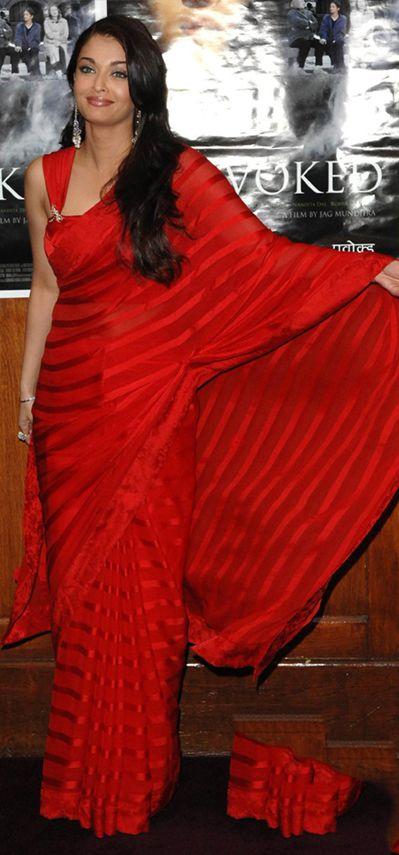 Stunning red satin striped saree, at a pretty good price! Modeled by Bollywood actress Aishwarya Rai