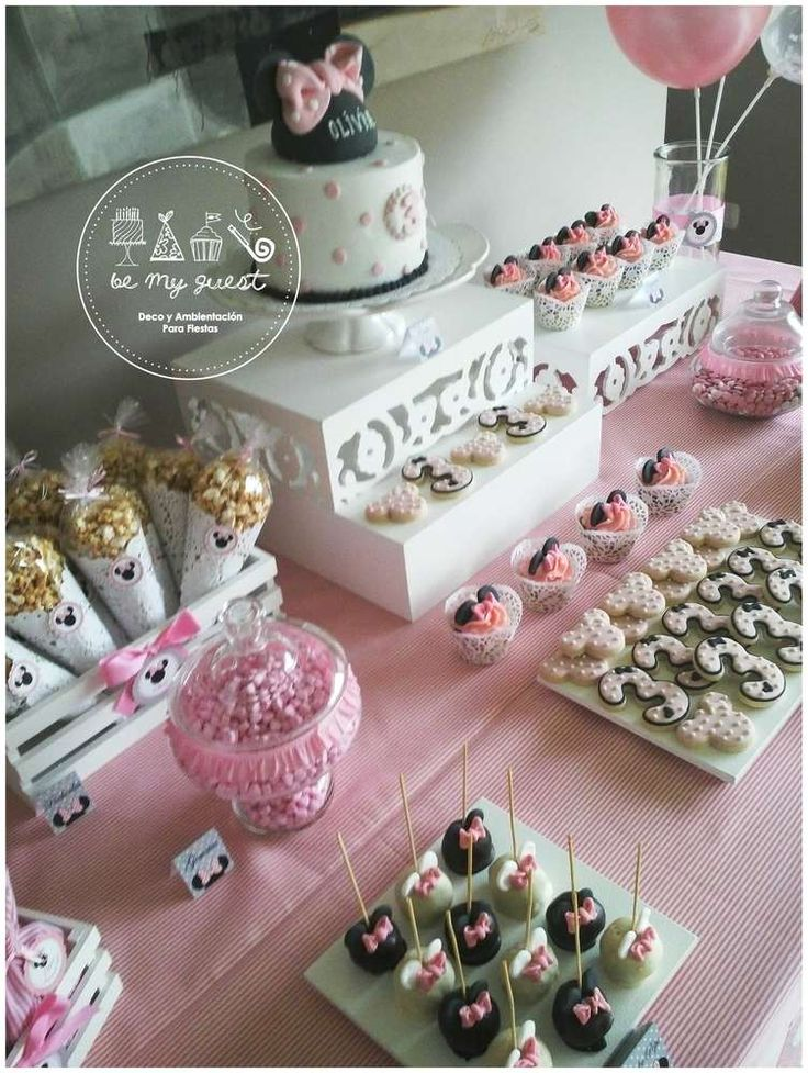 Dessert display at a Minnie Mouse birthday party! See more party planning ideas at CatchMyParty.com!