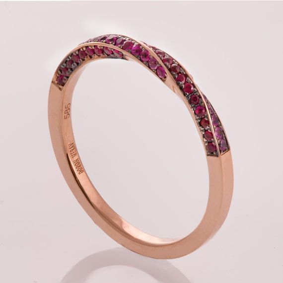 Mobius Sapphire and Ruby Ring Rose Gold Engagement by doronmerav