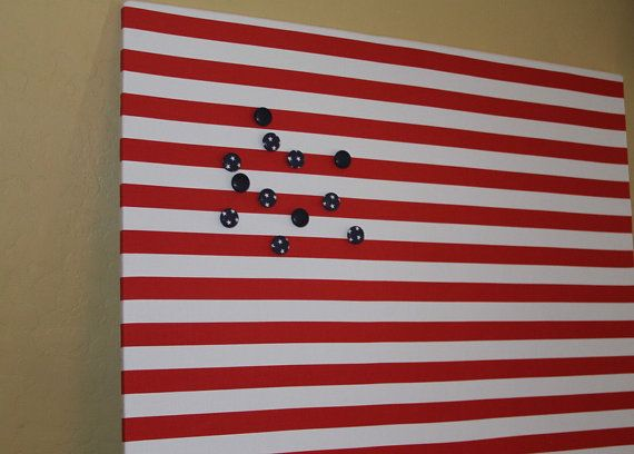"""Magnet Board (30"""" x 26"""") Fabric covered Magnetic bulletin board, Nautical Decor, Kitchen Bulletin Board, Kids room, Red & white stripes"""