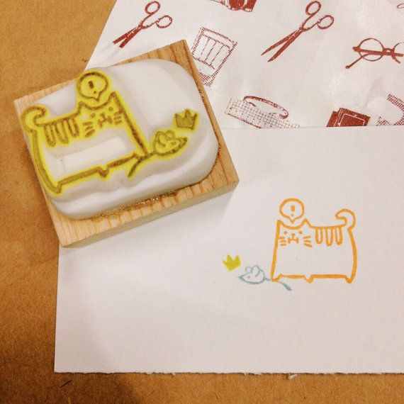 funny cat rubber stamp by DeerdayShop