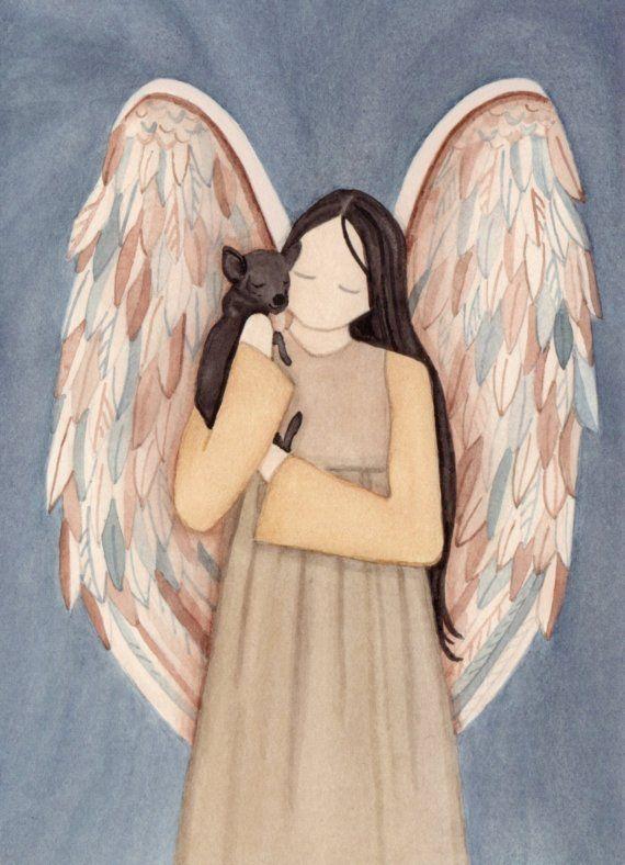 Chihuahua negro acunada por angel / Lynch firmado impresión