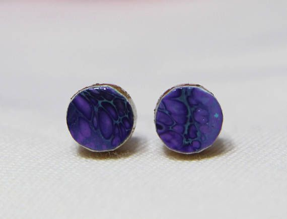 Petite Purple Fluid Painting/Acrylic Pour Art Stud Earrings for sensitive ears with titanium posts. Original, handmade jewelry by Messy Ever After.