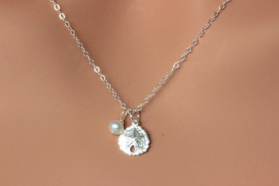 Sterling Silver sand Dollar and Freshwater Pearl by rainbowearring, $26.50