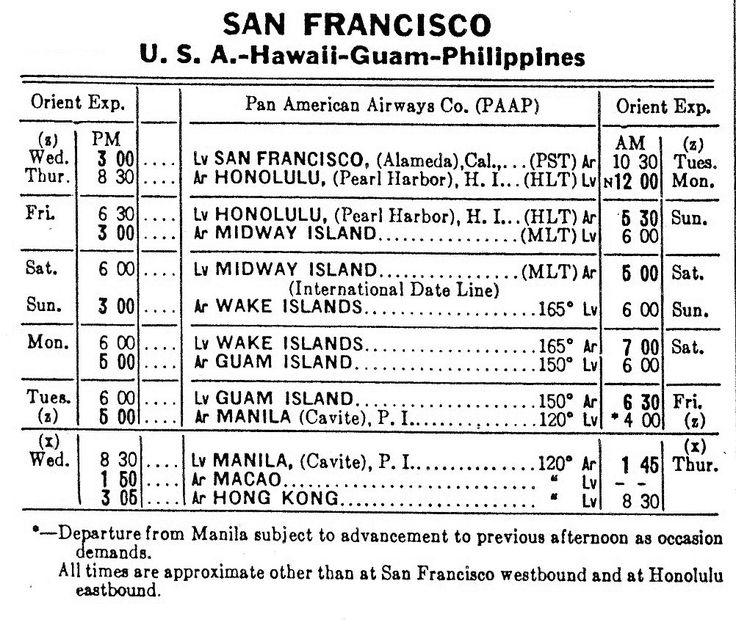 """Schedule for Pan American Airways """"China Clipper"""" service from San Francisco to…"""