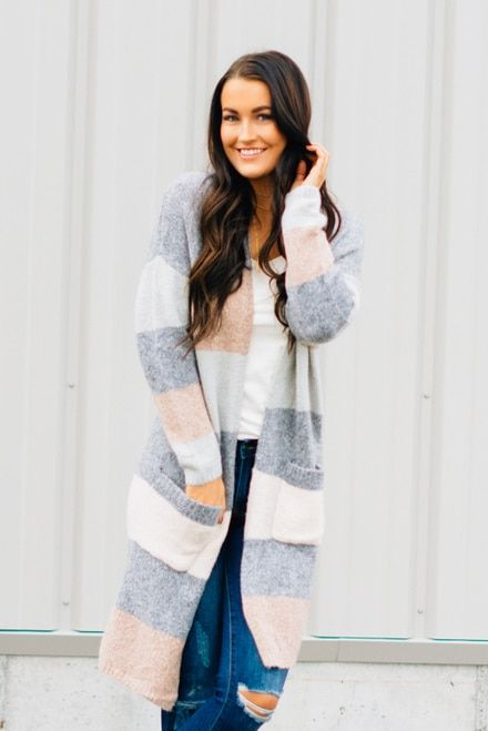 1e4a326ca2e Graced Striped Long Cardi color-block-cardigan-sweater -grey-cream-blush-duster-cardi