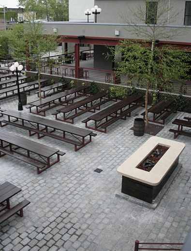 pavers and possibly a firepit...maybe this look is a bit too stark.  We want something more welcoming.