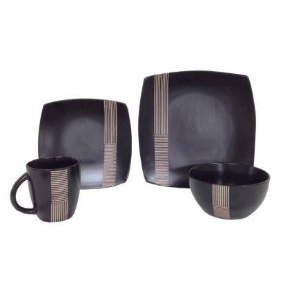Threshold Ogai Stoneware 16 Piece Dinnerware Set Black