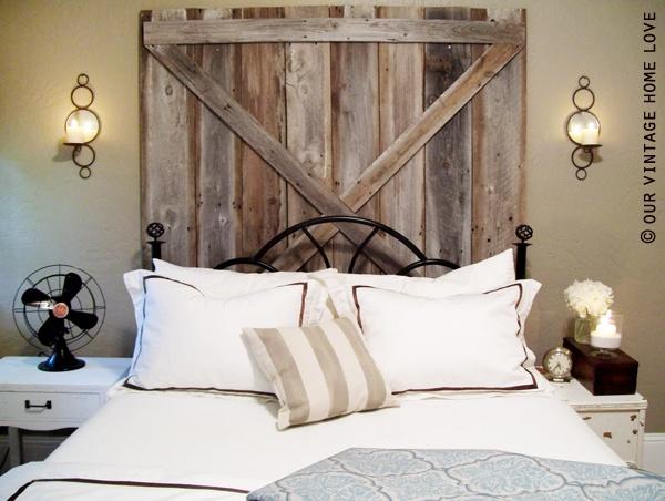 Barn Door Headboard: Decor, Wood Headboard, Barn Doors, Barns Doors Headboards, Headboards Ideas, Door Headboards, Master Bedrooms, Diy Headboards, House