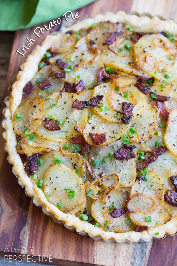 Irish savory potato pie with bacon. Crispy crust layered with potatoes, onions and bacon. The St. Patrick's Day favorite is a must have at an Irish dinner.