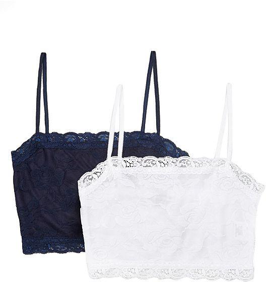 Navy & White Floral Lace Wireless Cami Bra Set - Plus Too