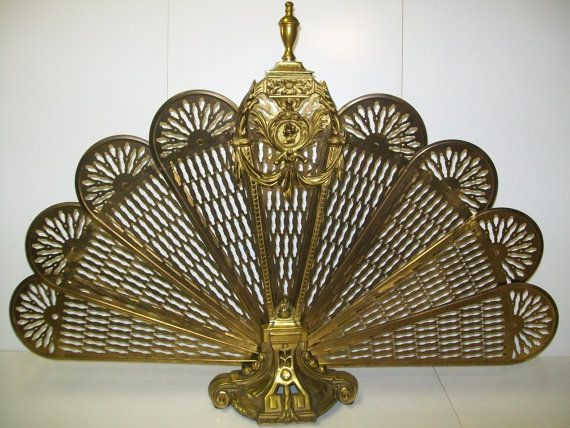 Antique brass fireplace fan screen. Peacock by bluemountwoodcrafts
