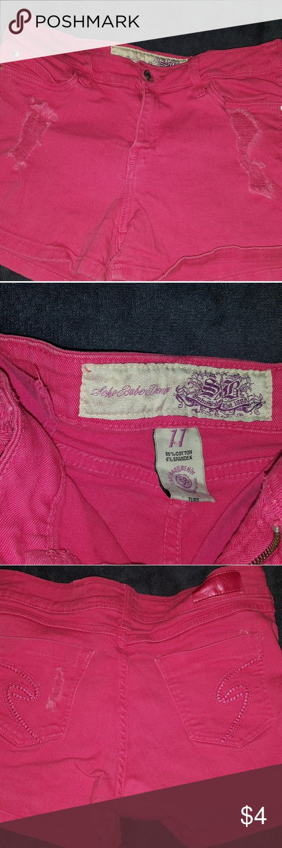 Women's Pink Destroyed Style Shorts Gently worn pink destroyed styled pink shorts. Size 11. Soho babe Shorts Jean Shorts