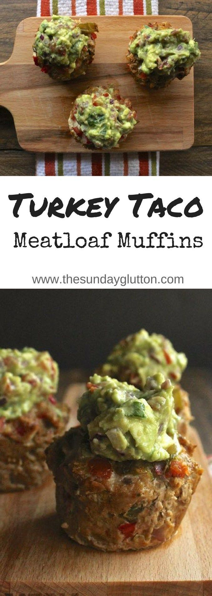 """These Turkey Taco Meatloaf Muffins are super moist and flavorful thanks to fresh tomatillo salsa. Topped with guacamole """"frosting"""", they're a kid-friendly, adult-loved, individual meatloaf dinner!"""