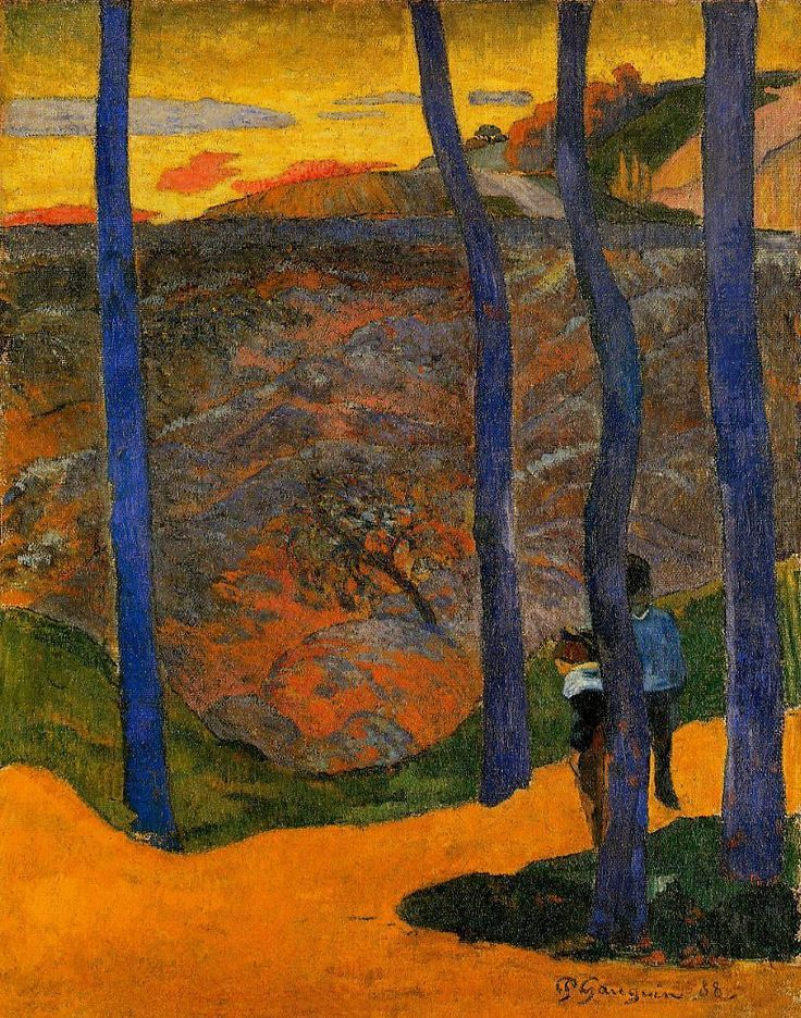 Gauguin. Blue trees, 1888. Peint à Paris.   Ordrupgaard Collection, Denmark