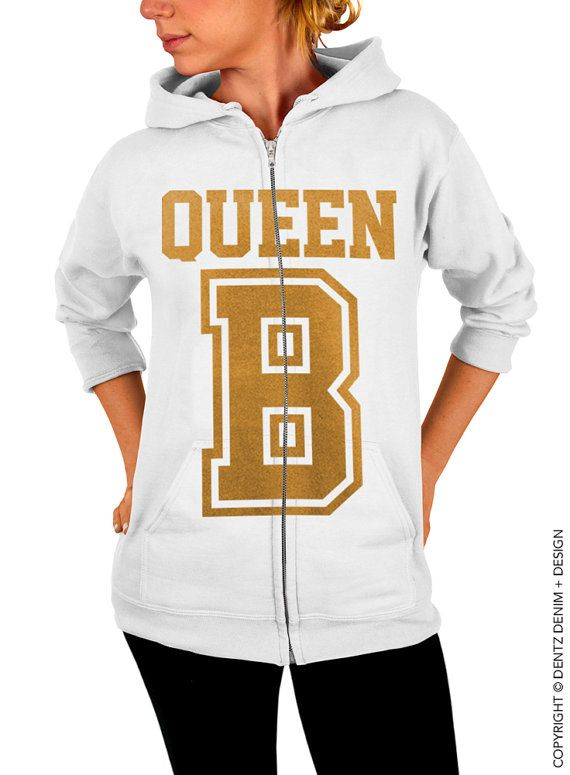 "Use coupon code ""pinterest"" Queen B Zip Up Hoodie - White with Gold Zip Up Hoodie by DentzDenim"
