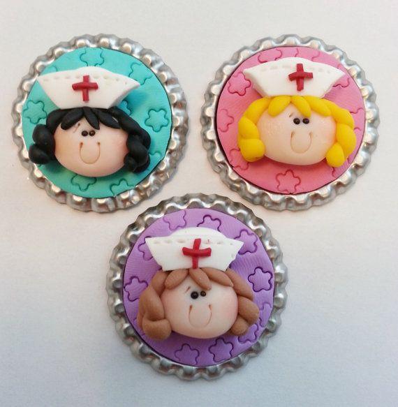Nurse Girl Polymer Clay Bottle Cap Bead por RainbowDayHappy en Etsy