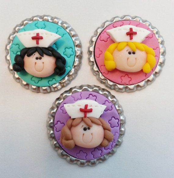 Nurse Girl Polymer Clay Bottle Cap Bead por RainbowDayHappy en Etsy