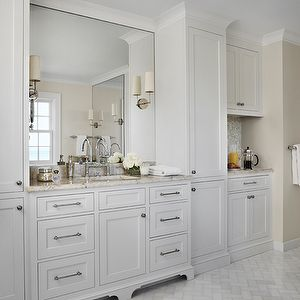White Cabinets And Marble Herringbone Bathroom Floor Part 66
